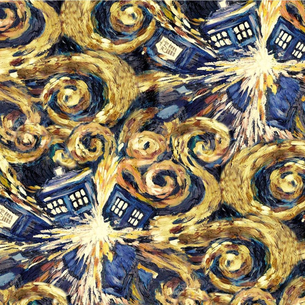 Doctor Who Exploding Tardis Van Gogh BBC Cotton Fabric