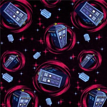 Doctor Who Tardis Space Phone Booth Pink Swirl BBC Cotton Fabric