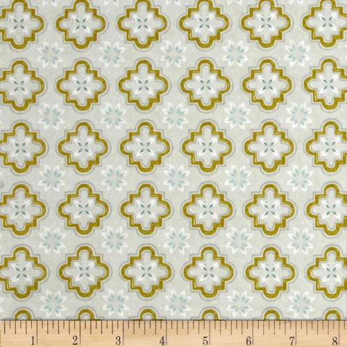 Porch Tile Mustard Moroccan Cotton and Steel Cotton Fabric
