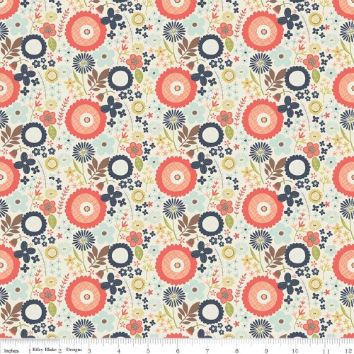 Woodland Spring Floral Flower Navy Cotton Fabric