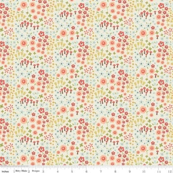 Woodland Spring Petal Cream Mushroom Ditsy Floral Flower Cotton Fabric