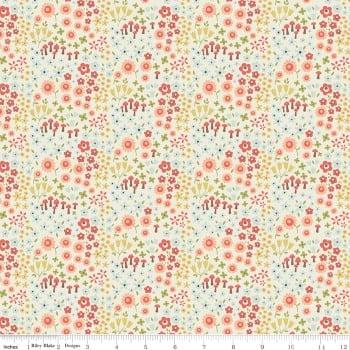 Woodland Spring Petal Cream Mushroom Ditsy Floral Flower Cotton Fabric