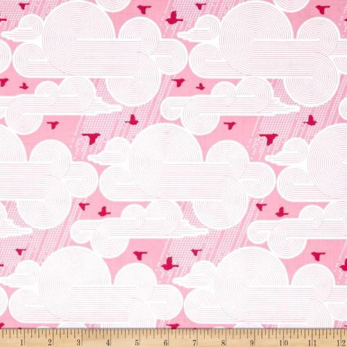 Atrium Cumulus Pink Birds Clouds Cotton Fabric by Joel Dewberry