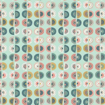 Scallop Stripe Turquoise Retro Modern Print Sophia Cotton Fabric