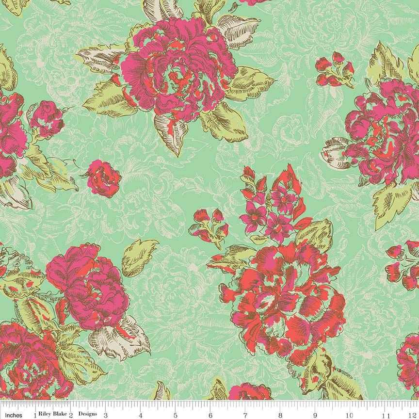 Ivy Mae Floral Flower Rose in Green Cotton Fabric