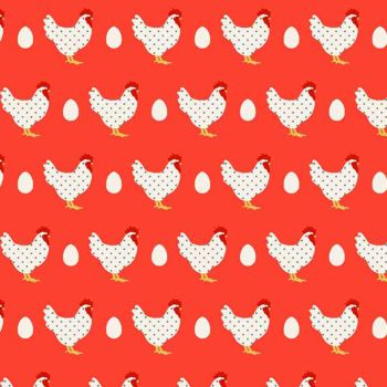 Hens Chickens Red from Lila's Kitchen Cotton Fabric by Makower