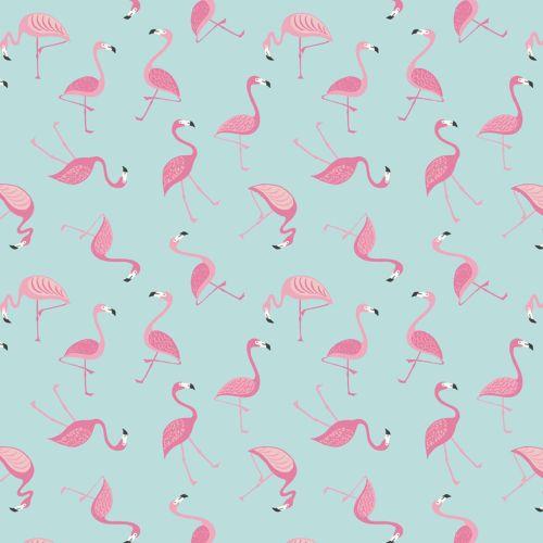 Flamingos on Blue Turquoise Aqua Tropical Cotton Fabric
