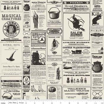 Halloween Newsprint Spooky Cotton Fabric