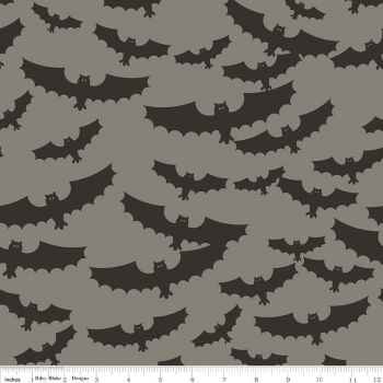Halloween Bat Bats Grey Spooky Cotton Fabric