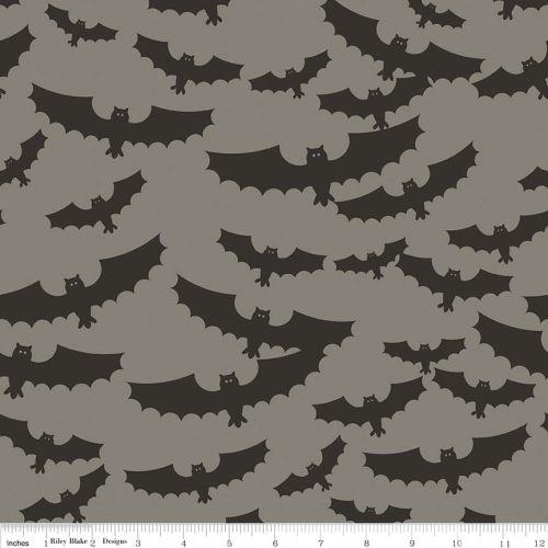 Halloween Bat Bats Grey Spooky Cotton Fabric