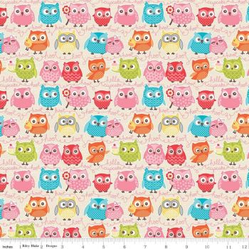 Owl Woodland Tree Party Owls on Cream Cotton Fabric
