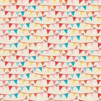 Bunting Tree Party on Cream Cotton Fabric