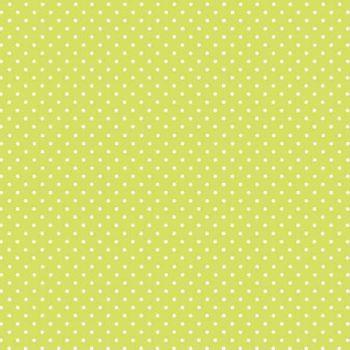 Spot On Kiwi White Polkadot on Lime Green Cotton Fabric by Makower