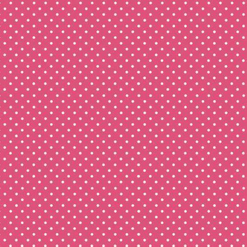Spot On Raspberry White Polkadot on Pink Cotton Fabric by Makower