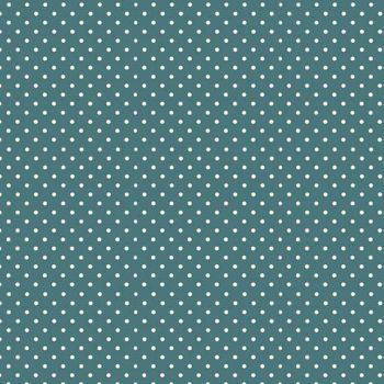 Spot On Dark Teal Turquoise White Polkadot on Teal Cotton Fabric by Makower