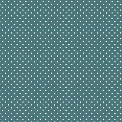 Spot On Sophia Turquoise White Polkadot on Teal Cotton Fabric by Makower
