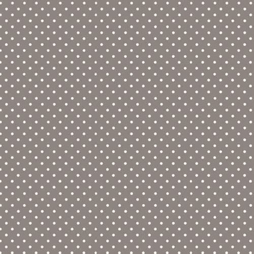 Spot On Sophia Grey White Polkadot on Grey Cotton Fabric by Makower