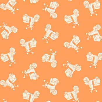 Scooter Retro Vespa Moped Tonal Apricot Cotton Fabric