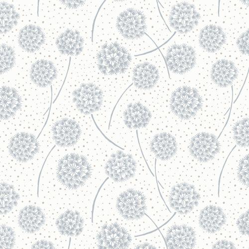 Dandelions Silver on White Cotton Fabric
