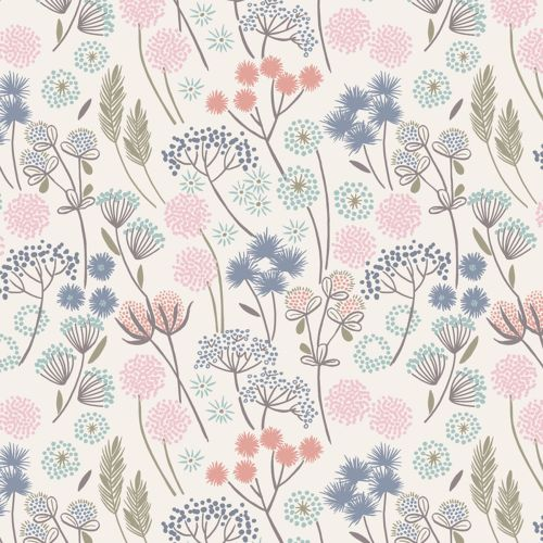 Hedgerow Flowers Floral on White Cotton Fabric