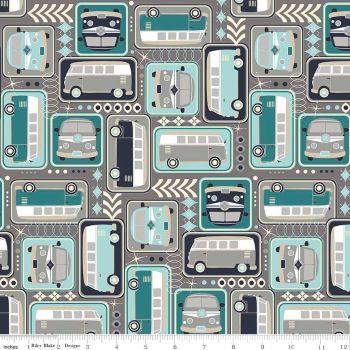 VW Camper Van Campervan Grey Cotton Fabric