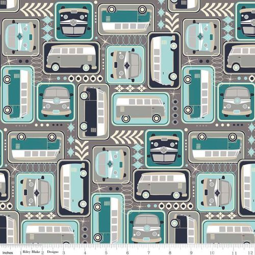 VW Camper Van Campervan Grey Cotton Fabric
