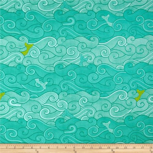 Surf Side Ocean Waves Cotton Fabric