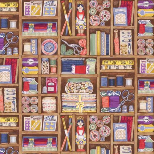 Haberdashery Boxes Shelves Sewing Notions Cotton Fabric