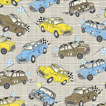 Mini Cooper British Classic Cars Minis Cotton Fabric