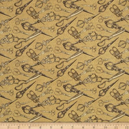 Sew Vintage Scissors Snips Sewing Cotton Fabric by Bristol Bay Studios