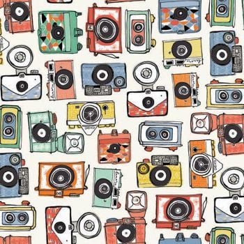 REMNANT Cameras Retro Camera Vacation Cotton Fabric