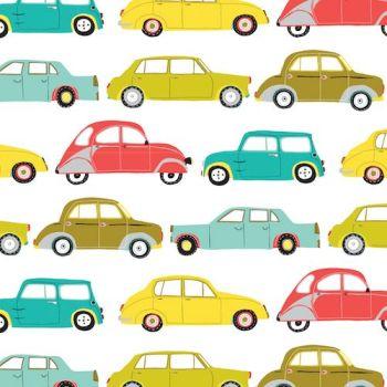 REMNANT British Classic Cars Minis Cotton Fabric