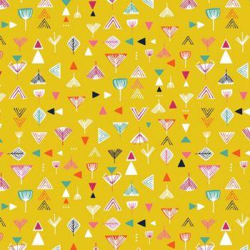 Nature Trail Geo Geometric Mustard Yellow Cotton Fabric