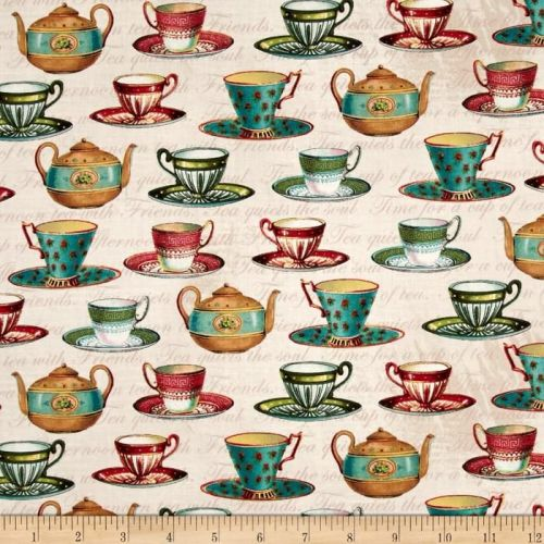 Teacups Teapot Flora Lula Bijoux Cotton Fabric