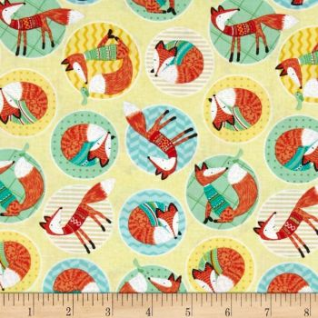 Foxes Woodland Circle of Fox Yellow Lemon Cotton Fabric