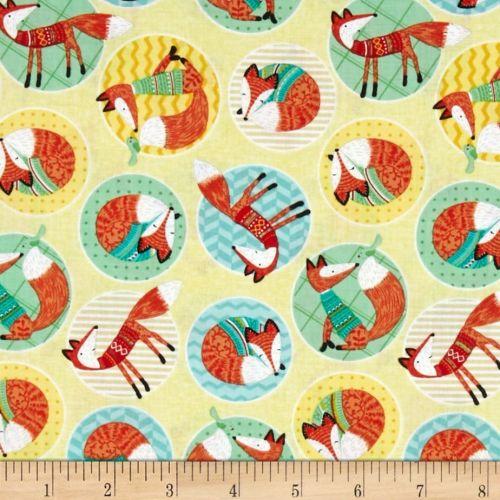 Foxes Woodland Circle of Fox Yellow Lemon Cotton Fabric