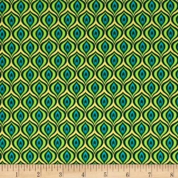 Peacock Feather Golden Eye Green Lime with Metallic Gold Cotton Fabric