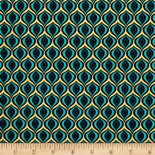 Peacock Feather Golden Eye Teal Black with Metallic Gold Cotton Fabric