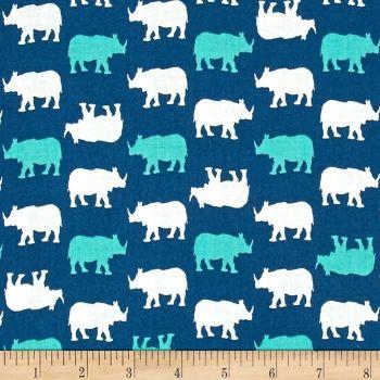 Rhino Rhinoceros Print on Blue Teal Cotton Fabric by Babychic Andover