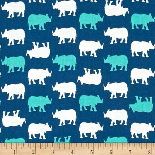 Rhino Rhinoceros Print on Blue Teal Cotton Fabric by Babychic Andover