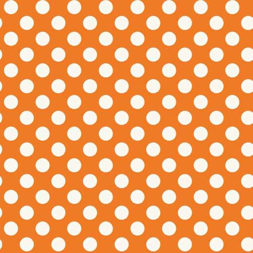 Spot Orange White Polkadot on Orange Spotty Dotty Cotton Fabric