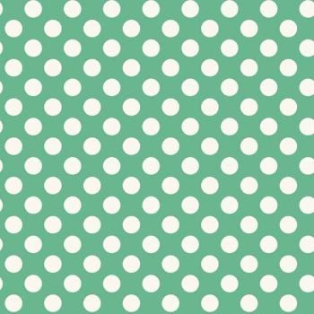 Spot Light Teal White Polkadot on Turquoise Aqua Green Spotty Dotty Cotton Fabric