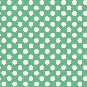 Spot Light Teal White Polkadot on Turquoise Aqua Green Spotty Dotty Cotton Fabric