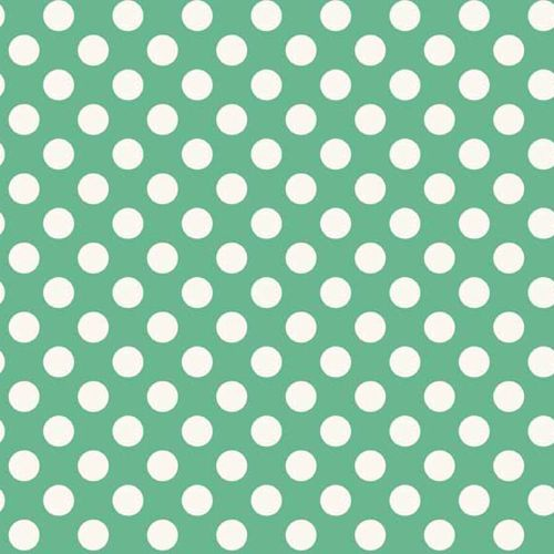 Spot Light Teal White Polkadot on Turquoise Aqua Green Spotty Dotty Cotton