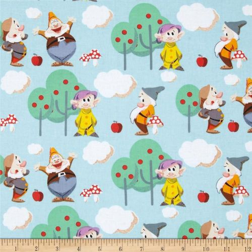Disney 7 Seven Dwarves Scenic Cotton Fabric
