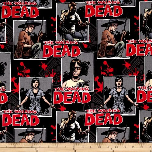The Walking Dead Ready for War Characters Cotton Fabric