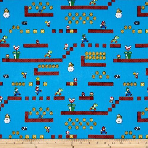 Nintendo Super Mario Game Scenes Gamers Video Game Cotton Fabric