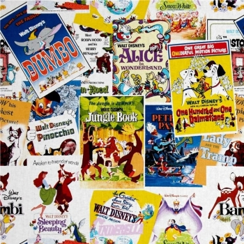 Disney Classics Movie Film Posters The Greatest Love Story Ever Told Cotton Fabric