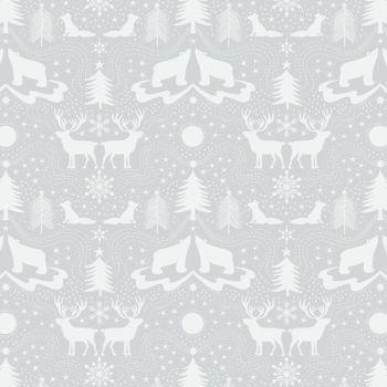 REMNANT Arctic Animals Polar Bear Christmas Metallic Cotton Fabric