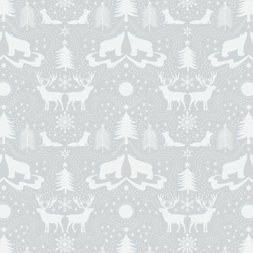 Arctic Animals Polar Bear Christmas Metallic Cotton Fabric